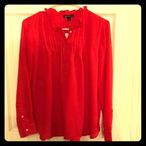 J crew red blouse